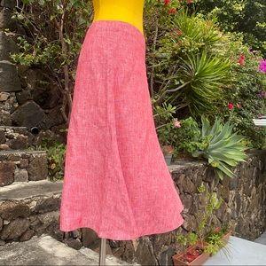 BANANA REPUBLIC red 100% linen skirt